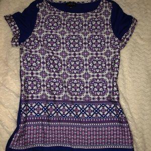 Short sleeve, multi colored blouse